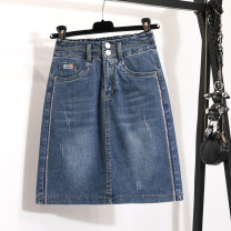 skirt Summer 2020 S,M,L,XL,2XL,3XL,4XL wathet Short skirt commute High waist skirt Solid color Type H 25-29 years old 71% (inclusive) - 80% (inclusive) Denim other Diamond, pocket, stitching Korean version 101g / m ^ 2 (including) - 120g / m ^ 2 (including)