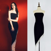 Dress Summer 2021 black S,M,L,XL Mid length dress singleton  Sleeveless commute One word collar middle-waisted Solid color zipper Irregular skirt Breast wrapping 25-29 years old Type X Chain, nail bead, asymmetry, stitching, diamond, tassel, Sequin, diamond 91% (inclusive) - 95% (inclusive) other