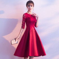 Dress / evening wear Wedding adult party company annual meeting performance S M L XL XXL XXXL Korean version Medium length middle-waisted Spring of 2019 A-line skirt U-neck zipper 18-25 years old WFYLFA618 elbow sleeve flower Solid color Wen Fengyan Petal sleeve Polyester 80% other 20% other