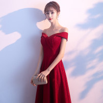Dress / evening wear Wedding adult party company annual meeting performance S M L XL XXL XXXL Korean version longuette middle-waisted Spring of 2019 Fall to the ground One shoulder Bandage 18-25 years old Short sleeve Solid color Wen Fengyan routine Polyester 80% other 20% other