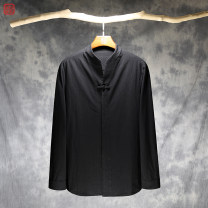 shirt Youth fashion Others M. L, XL, 2XL, 3XL, 4XL (recommended 175-190kg), 5XL (recommended 190-200kg) Black spring and autumn, white spring and autumn, black plush, white plush, black quarter sleeve, white quarter sleeve routine stand collar Long sleeves easy Other leisure autumn XY-104 youth hemp