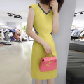 Dress Summer 2021 Yellow, color block, pink, black a, black B S,M,L,XL Mid length dress singleton  Sleeveless street V-neck High waist Solid color Socket A-line skirt routine Others Type A bobowaltz B192y06027p More than 95% polyester fiber Europe and America