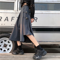 skirt Spring 2020 M,L,XL Gray, black Middle-skirt Versatile High waist Irregular Solid color Type A 18-24 years old