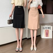 skirt Spring 2021 XL,L,M,S Black, khaki Mid length dress commute High waist skirt Solid color Type A 18-24 years old Three dimensional decoration, asymmetry, splicing
