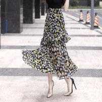 skirt Summer 2020 S,M,L,XL,2XL Bright Daisy, deep Daisy Mid length dress commute Natural waist Ruffle Skirt Decor Type A 25-29 years old 1060-1 Chiffon Other / other polyester fiber Ol style