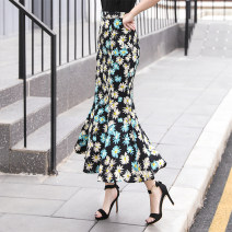 skirt Spring 2021 S,M,L,XL,2XL Decor longuette commute Natural waist skirt Decor Type A 30-34 years old More than 95% Chiffon Other / other polyester fiber Retro