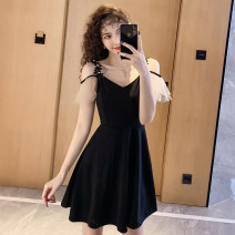 Dress Summer 2021 Black, random delivery of tail goods M,L,XL,2XL,3XL Short skirt singleton  commute V-neck High waist Solid color zipper A-line skirt Flying sleeve camisole 18-24 years old Type A Retro More than 95% other other