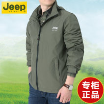 Jacket Jeep / Jeep Fashion City M,L,XL,2XL,3XL,4XL,5XL,6XL thin easy Other leisure spring Polyamide fiber (nylon) 100% Long sleeves Wear out Detachable cap Business Casual middle age routine Zipper placket 2021 Straight hem washing Closing sleeve Solid color More than two bags) Zipper bag cotton