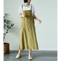 Dress Spring 2021 Orange powder (single skirt), mustard green (single skirt), navy blue (single skirt) Average size Mid length dress singleton  Sleeveless Socket camisole Type H hemp