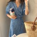 Dress Summer 2021 blue Average size Mid length dress singleton  Short sleeve Decor