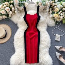 Dress Summer 2020 Black, gray, khaki, white, pink, Burgundy, red, sling Average size Middle-skirt singleton  commute square neck High waist Solid color Socket One pace skirt camisole 18-24 years old Type X Korean version Splicing 31% (inclusive) - 50% (inclusive) other other