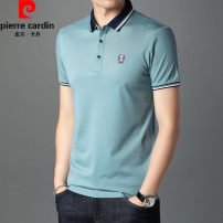 T-shirt Business gentleman Blue, light blue, green bean paste thin 165/84A,170/88A,175/92A,180/96A,185/100A Pierre Cardin / Pierre Cardin Short sleeve Lapel standard daily summer Cotton 52.5% polyester 47.5% middle age routine 2020 Solid color cotton Brand logo No iron treatment International brands