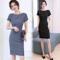 Dress Summer 2021 Dark grey, light grey, black XS,S,M,L,XL,2XL,3XL Middle-skirt singleton  Short sleeve commute One word collar High waist Solid color Socket One pace skirt Others 25-29 years old Type X Ol style Lace up, zipper S-8110# 51% (inclusive) - 70% (inclusive) nylon