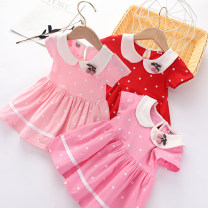 Dress Rose, red, pink female Colorful children Size 80 (recommended height about 70cm), Size 90 (recommended height about 80cm), size 100 (recommended height about 90cm), Size 110 (recommended height about 100cm), Size 120 (recommended height about 110cm) Cotton 95% polyester 5% summer Korean version