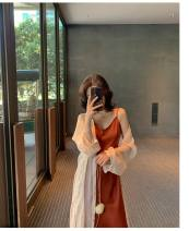 Dress Summer 2020 S,M,L,XL longuette Two piece set commute V-neck High waist Solid color Socket A-line skirt other camisole Type A Other / other Korean version