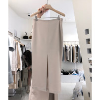 skirt Summer 2020 S,M,L,XL Blue, black, beige Mid length dress commute High waist skirt Solid color T-type 25-29 years old 51% (inclusive) - 70% (inclusive) cotton zipper Korean version