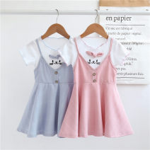 Dress Two pink bearded cats, two blue bearded cats and 12 Pink Butterflies female Yu Shengli 80y(73cm),90y(80cm),100y(90cm),110y(100cm),120y(110cm),130y(120cm) Cotton 80% other 20% summer leisure time Short sleeve Solid color other skirt Chinese Mainland Guangdong Province Foshan City
