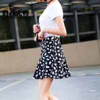 skirt Summer 2021 XS,S,M,L,XL black Middle-skirt commute High waist A-line skirt Decor Type A 25-29 years old SD901 Pleating, asymmetry, zipper, stitching, printing Korean version