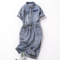 Dress Spring 2020 Old blue (thick) S M L XL longuette singleton  Short sleeve street square neck High waist Solid color Single breasted other routine 25-29 years old FA xueshu Pocket lace up for old buttons F190513-1 More than 95% Denim other Other 100% Pure e-commerce (online only)