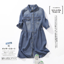 Dress Summer of 2019 blue M L XL Mid length dress singleton  street square neck middle-waisted Solid color Single breasted routine 25-29 years old FA xueshu Pocket wave button More than 95% Denim other Other 100% Pure e-commerce (online only) Europe and America