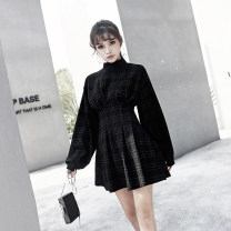 Dress Autumn 2020 black S,M,L,XL Short skirt singleton  Long sleeves commute Half high collar Elastic waist lattice Socket Big swing bishop sleeve Others 25-29 years old Type X MUCHA STUDIO zipper 30% and below other polyester fiber