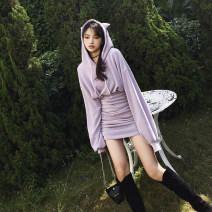 Dress Winter 2020 Black, lavender XS,S,M,L Short skirt singleton  Long sleeves street Hood High waist Solid color zipper One pace skirt bishop sleeve Others MUCHA STUDIO Embroidery, fold, three-dimensional decoration 31% (inclusive) - 50% (inclusive) knitting cotton