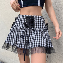 skirt Spring 2021 S,M,L black Short skirt Versatile High waist A-line skirt lattice Type A AMWKD00541 71% (inclusive) - 80% (inclusive) polyester fiber