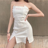 Dress Summer 2021 white S,M,L Short skirt singleton  Sleeveless street One word collar High waist Solid color Socket One pace skirt routine Breast wrapping 18-24 years old Type H Backless, embroidered, split AMWBD11043 71% (inclusive) - 80% (inclusive) other cotton Europe and America