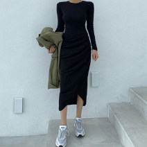 Dress Autumn 2020 black S,M,L Mid length dress singleton  Long sleeves commute Crew neck High waist Solid color Socket One pace skirt routine Others 18-24 years old Retro AMD7913W0I 51% (inclusive) - 70% (inclusive) cotton