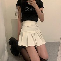 skirt Summer 2021 S,M,L white Short skirt Versatile High waist A-line skirt Solid color Type A 18-24 years old AMMAD10776 31% (inclusive) - 50% (inclusive) polyester fiber Pleats