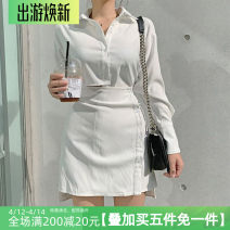 Dress Spring 2021 White, black S,M,L Short skirt singleton  Long sleeves commute routine Type A Retro HSD4683W0G 31% (inclusive) - 50% (inclusive) polyester fiber