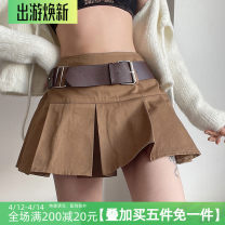 skirt Winter 2020 S,M,L Dark brown Short skirt street High waist A-line skirt Solid color Type A 18-24 years old AMWLD00967 More than 95% cotton Europe and America