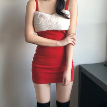 Dress Winter 2020 Black, red S,M,L Short skirt singleton  Sleeveless street square neck High waist Solid color Socket One pace skirt Breast wrapping 18-24 years old Type H AMMKD00447 81% (inclusive) - 90% (inclusive) other Europe and America