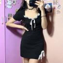 Dress Spring 2021 black S,M,L Short skirt singleton  Short sleeve commute High waist A-line skirt routine Type A Retro AMMBD11476 cotton
