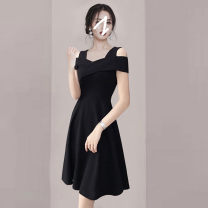 Dress Summer 2020 Black, red S,M,L,XL,2XL Middle-skirt singleton  Short sleeve commute One word collar High waist Solid color zipper A-line skirt routine Others Type A Retro