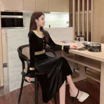 Dress Winter of 2019 Black yellow S,M,L,XL Mid length dress singleton  Long sleeves commute other High waist Solid color Socket A-line skirt pagoda sleeve Others Type A Other / other Korean version Button, button