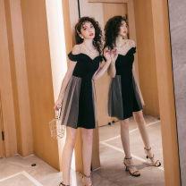 Dress Summer 2020 black S,M,L,XL,2XL Middle-skirt singleton  commute Crew neck High waist Solid color zipper A-line skirt Others Type A Korean version Splicing