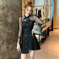 Dress Autumn 2020 black S,M,L,XL,2XL Short skirt singleton  Long sleeves commute Half high collar High waist Solid color Single breasted Irregular skirt puff sleeve Others Type A Korean version Stitching, mesh, buttons, bows