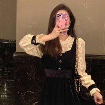 Dress Spring 2021 black S,M,L,XL Mid length dress singleton  Long sleeves commute Crew neck High waist Solid color Socket A-line skirt pagoda sleeve Others Type A Korean version Splicing