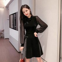 Dress Autumn of 2019 black S,M,L,XL Short skirt singleton  Long sleeves commute stand collar High waist Solid color zipper A-line skirt bishop sleeve Others Type A Other / other Korean version Stitching, Sequin, zipper, mesh