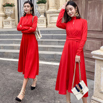 Dress Winter of 2018 Red, black S,M,L,XL longuette singleton  Long sleeves commute stand collar High waist Solid color Socket A-line skirt routine Others 25-29 years old Type A Korean version Frenulum