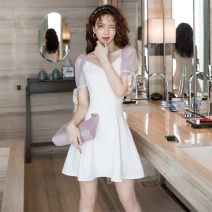 Dress Summer 2020 white S,M,L,XL Middle-skirt singleton  Short sleeve commute square neck High waist Solid color zipper A-line skirt puff sleeve Others Type A Korean version Lace up, stitching, mesh, zipper