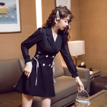 Dress Autumn of 2019 black S,M,L,XL,2XL Short skirt singleton  Long sleeves commute tailored collar High waist Solid color Socket A-line skirt routine Others Type A Other / other Korean version Lace up, tie, button