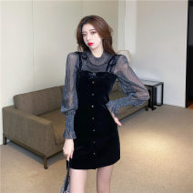 Dress Spring 2021 black S,M,L,XL Short skirt Two piece set Long sleeves commute Crew neck High waist Solid color Socket One pace skirt pagoda sleeve 18-24 years old Type A Korean version Mesh, zipper, bow, lace up