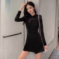 Dress Autumn of 2019 black S,M,L,XL,XXL Short skirt Two piece set Long sleeves commute stand collar High waist Solid color zipper A-line skirt routine Others Type A Retro Stitching, lace