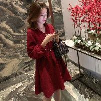 Dress Spring 2021 Red, black S,M,L,XL Mid length dress singleton  Long sleeves commute V-neck High waist Solid color Socket A-line skirt routine Type A Korean version Button