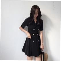 Dress Summer of 2019 Black short sleeves, black long sleeves S,M,L,XL,2XL Short skirt singleton  Short sleeve commute V-neck High waist Solid color double-breasted A-line skirt routine Others Korean version Button