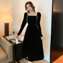 Dress Autumn 2020 black S,M,L,XL,2XL Mid length dress singleton  Long sleeves commute square neck High waist Solid color Socket A-line skirt other Others Type A Retro fold , Bandage , Nail bead
