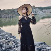 Dress Autumn of 2019 black S,M,L,XL Mid length dress singleton  Long sleeves commute Crew neck High waist Solid color zipper A-line skirt routine Others Type A Korean version
