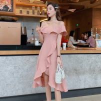 Dress Summer of 2019 Pink, black S,M,L,XL Mid length dress singleton  Short sleeve commute One word collar High waist Solid color Socket Irregular skirt other Others 18-24 years old Type A Korean version Lotus leaf edge